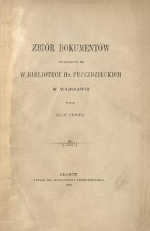 Zbiór dokumentów znajdujących się w Bibliotece hr. Przeździeckich w Warszawie