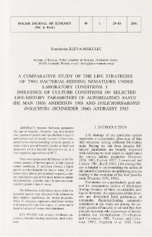 A comparative study of the life strategies of two bacterial-feeding nematodes under laboratory conditions. 1, Influence of culture conditions on selected life-history parameters of Acrobeloides nanus (de Man 1880) Anderson 1968 and Dolichorhabditis dolichura (Schneider 1866) Andrássy 1983