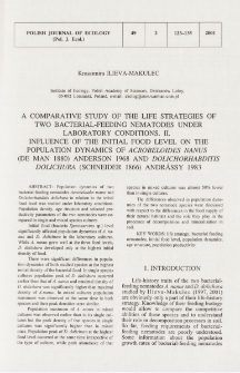 A comparative study of the life strategies of two bacterial-feeding nematodes under laboratory conditions. 2, Influence of the initial food level on the population dynamics of Acrobeloides nanus (de Man 1880) Anderson 1968 and Dolichorhabditis dolichura (Schneider 1866) Andrássy 1983