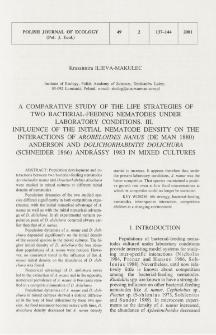 A comparative study of the life strategies of two bacterial-feeding nematodes under laboratory conditions. 3, Influence of the initial nematode density on the interactions of Arobeloides nanus (de Man 1880) Anderson and Dolichorhabditis dolichura (Schneider 1866) Andrássy 1983 in mixed cultures