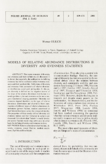 Models of relative abundance distributions. 2, Diversity and evenness statistics