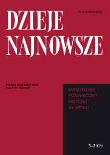 Dzieje Najnowsze : [kwartalnik poświęcony historii XX wieku] R. 51 z. 3 (2019), Strony tytułowe, Spis treści
