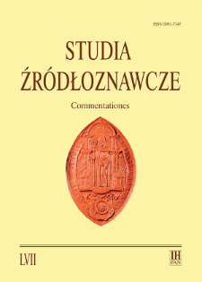 Studia Źródłoznawcze = Commentationes T. 57 (2019), Strony tytułowe, Spis treści