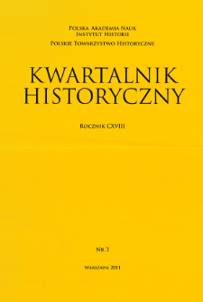 Kwartalnik Historyczny R. 118 nr 3 (2011), Title pages, Contents