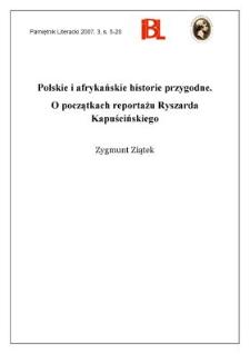 Polskie i afrykańskie historie przygodne. O początkach reportażu Ryszarda Kapuścińskiego