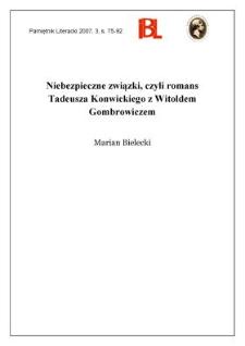 Niebezpieczne związki, czyli romans Tadeusza Konwickiego z Witoldem Gombrowiczem