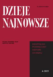Dzieje Najnowsze : [kwartalnik poświęcony historii XX wieku], R. 51 z. 4 (2019), Strony tytułowe, Spis treści
