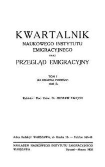 Kwartalnik Naukowego Instytutu Emigracyjnego oraz Przegląd Emigracyjny, R. III, 1928, T. II (za kwartał 1)