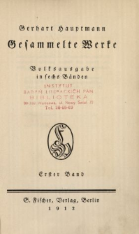 Gesammelte Werke : Volksausgabe in sechs Bänden. Bd. 1