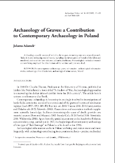Archaeology of Graves: a Contribution to Contemporary Archaeology in Poland