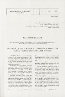 Rotifera of lake psammon: community structure versus trophic state of lake waters