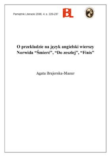 """O przekładzie na język angielski wierszy Norwida """"Śmierć"""", """"Do zeszłej"""", """"Finis"""""""