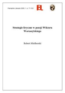 Strategie liryczne w poezji Wiktora Woroszylskiego