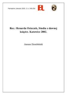 """""""Studia o dawnej książce"""", Renarda Ocieczek, Katowice 2002"""