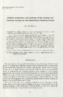 Habitat preference and activity of the noctule bat Nyctalus noctula in the Białowieża Primeval Forest