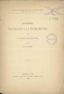 Arachnides recueillis à la Terre-De-Feu par M. Carlos Backhausen