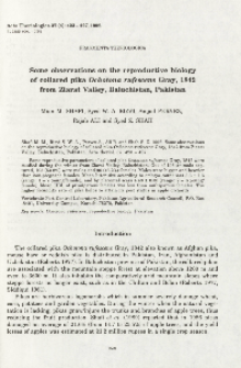 Some observations on the reproductive biology of collared pika Ochotona rufescens Gray, 1842 from Ziarat Valley, Baluchistan, Pakistan