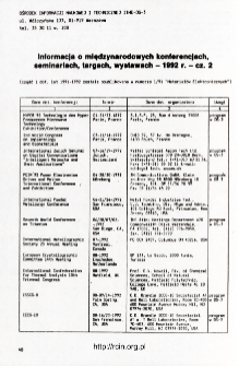 Udział pracowników ITME w konferencjach 1991 nr 4(76) = ITME employees participation in conferences 1991 nr 4(76)