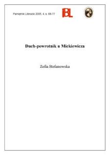 Duch-powrotnik u Mickiewicza