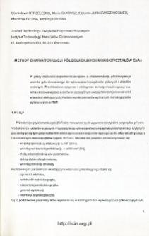 Metody charakteryzacji półizolacyjnych monokryształów GaAs