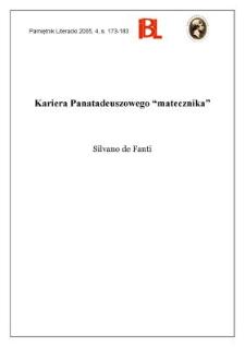 """Kariera Panatadeuszowego """"matecznika"""""""