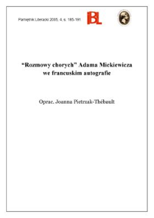 """""""Rozmowy chorych"""" Adama Mickiewicza we francuskim autografie"""