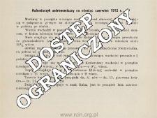 Kalendarzyk astronomiczny na miesiąc czerwiec 1912 r.