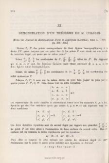 Démonstration d'un Théorème de M. Chasles