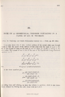 Note on a Geometrical Theorem contained in a Paper by Sir W. Thomas