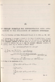 On certain Formulae for Differentiation, with applications to the evaluation of Definite Integrals