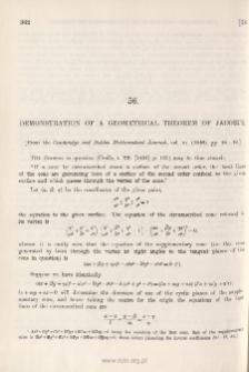 Demonstration of a Geometrical Theorem of Jacobi's