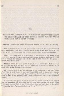 Abstract of a Memoir by Dr Hesse on the construction of the Surface of the Second Order which passes through nine given points