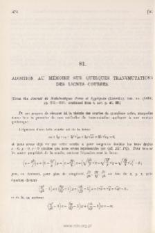 Addition au Mémoire sur quelques Transmutations des Lignes Courbes