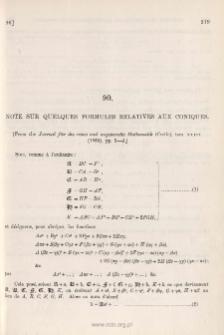 Note sur quelques Formules relatives aux Coniques