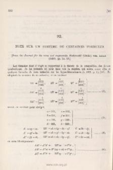 Note sur um Système de certaines Formules