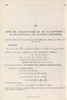 Note sur quelques Formules qui se rapportent à la Multiplication des Fonctions Elliptiques