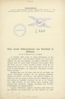 Eine kleine Käferausbeute aus Karlsbad in Böhmen