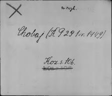 Kartoteka Słownika staropolskich nazw osobowych; Cho - Chod