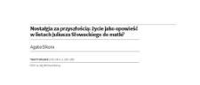 Nostalgia za przyszłością: życie jako opowieść w listach Juliusza Słowackiego do matki