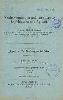 Neubenennungen palaearktischer Lepidoptera und Apidae