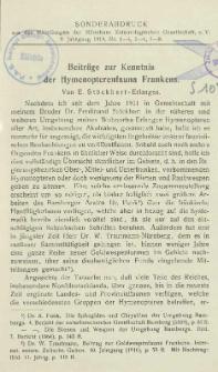Beiträge zur Kenntnis der Hymenopterenfauna Frankens