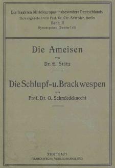 Die Insekten Mitteleuropas insbesondere Deutschlands. Band 2, Zweiter Teil ; Hymenopteren