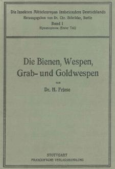 Die Insekten Mitteleuropas insbesondere Deutschlands. Band 1, Erster Teil ; Hymenopteren