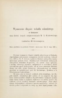 Wyznaczenie długości wahadła sekundowego w Krakowie oraz dwóch innych miejscowościach W. X. Krakowskiego