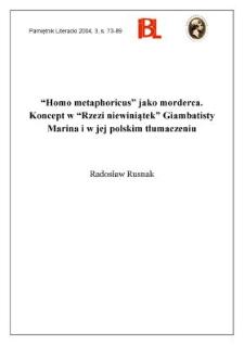 """""""Homo metaphoricus"""" jako morderca : koncept w """"Rzezi niewiniątek"""" Giambattisty Marina i w jej polskim tłumaczeniu"""