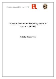 Włoskie badania nad romantyzmem w latach 1980-2000