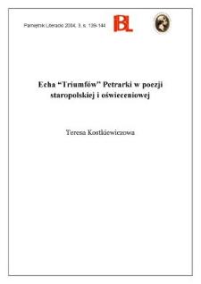 """Echa """"Triumfów"""" Petrarki w poezji staropolskiej i oświeceniowej"""