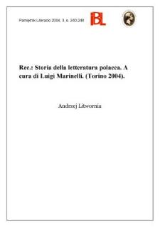 """""""Storia della letteratura polacca"""" a cura di Luigi Marinelli, Torino 2004"""