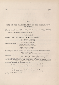 Note on the transformation of two simultaneous equations