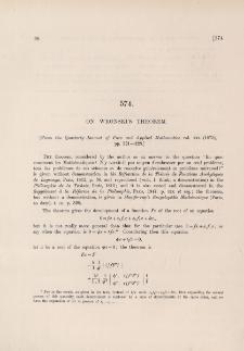 On Wronski's theorem